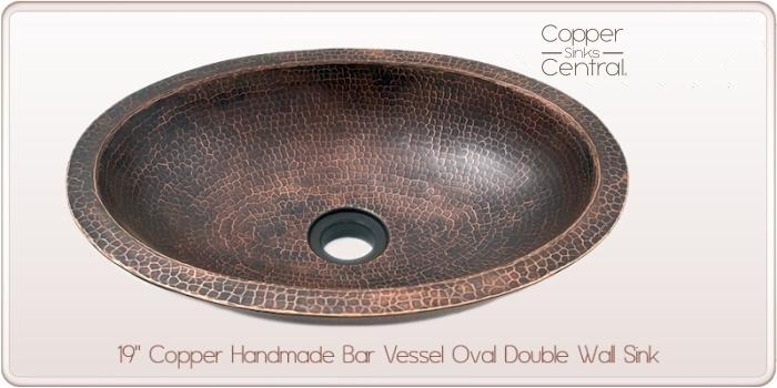 """19"""" Copper Handmade Bar Vessel Oval Double Wall Sink"""