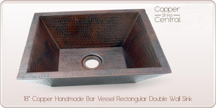 "18"" Copper Handmade Bar Vessel Double Wall Rectangular Sink"