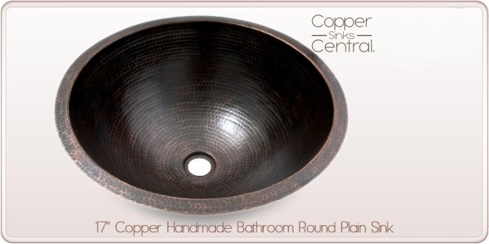 "17"" Copper Handmade Bathroom Round Plain Sink"