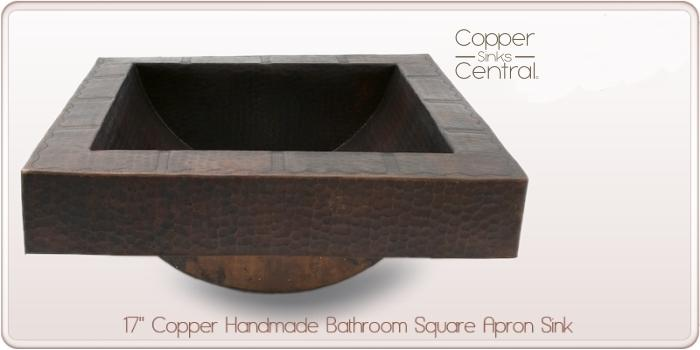 "17"" Copper Handmade Bathroom Square Apron Sink"