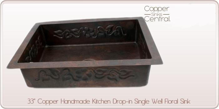 "33"" Copper Handmade Kitchen Drop-in Single Well Floral Sink"