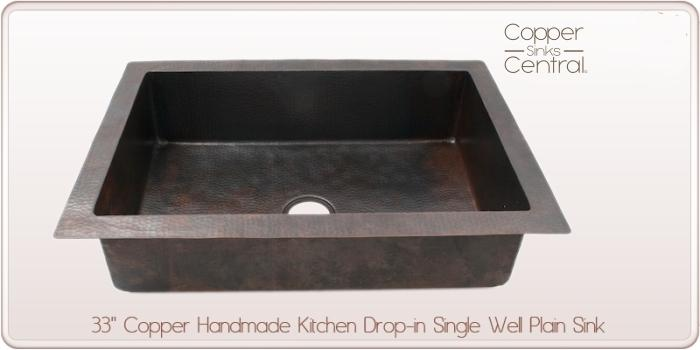 "33"" Copper Handmade Kitchen Drop-in Single Well Plain Sink"