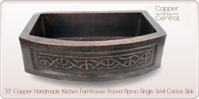 "33"" Copper Handmade Kitchen Farmhouse Round Apron Single Well Cactus Sink"