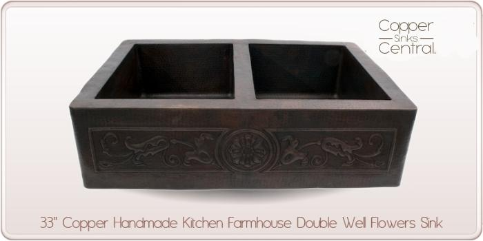 "33"" Copper Handmade Kitchen Farmhouse Double Well Flowers Sink"