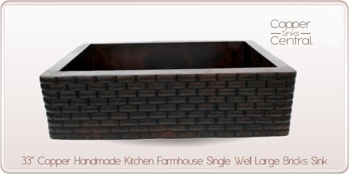 "33"" Copper Handmade Kitchen Farmhouse Single Well Large Bricks Sink"
