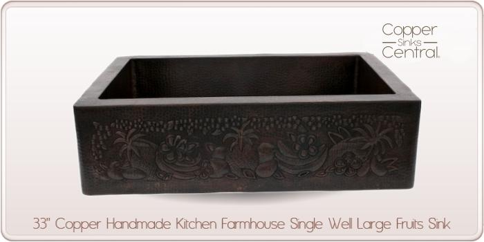 "33"" Copper Handmade Kitchen Farmhouse Single Well Large Fruits Sink"