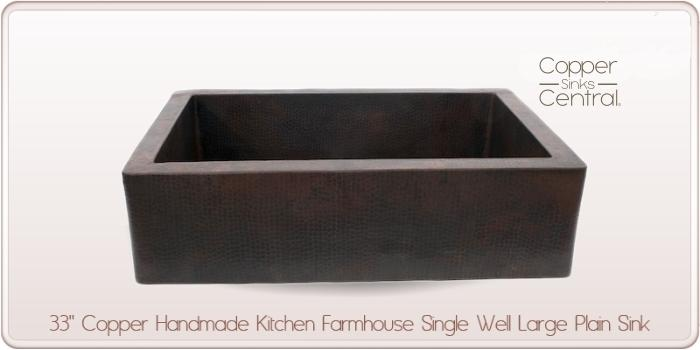"33"" Copper Handmade Kitchen Farmhouse Single Well Large Plain Sink"